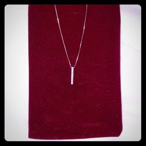 Shane Co White Gold and Diamond Bar Necklace
